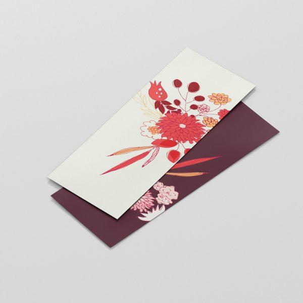 bookmark-scarletflowers; silky; laminated