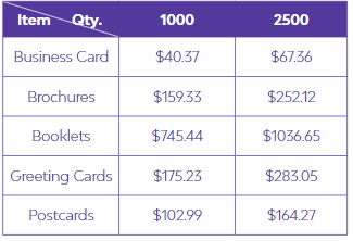 Printing Pricing Table