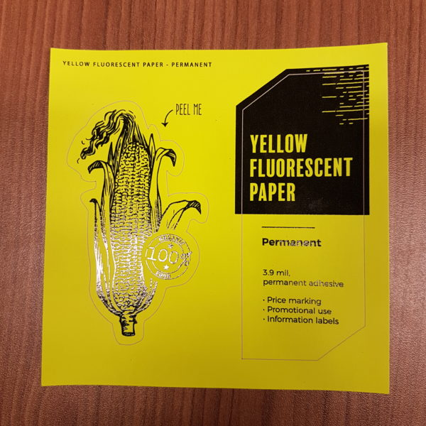yellow fluorescent paper permanent circle oval